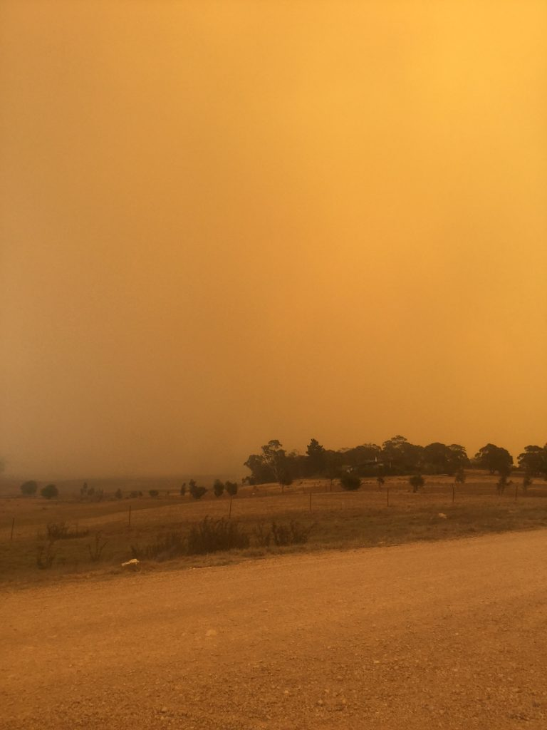 Braidwood Fire, thick smoke covers the landscape