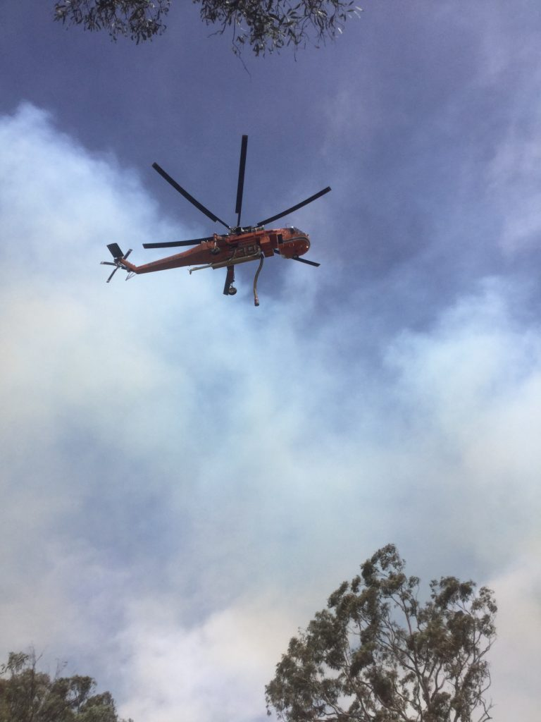 Good Good Fire, skycrane helicopter in flight
